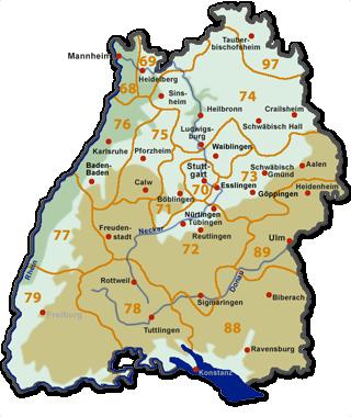 Gebiet karte plz 72 PLZ 70
